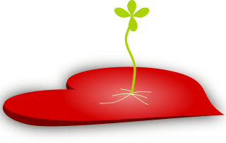 red heart with seedling growing from middle