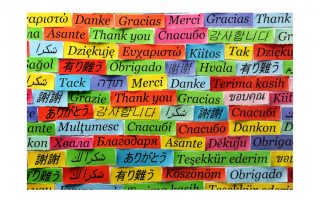 Thank you in many languages on multicolored sticky notes
